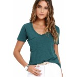 Green Summer Basic Pocket T-shirt blue black gray