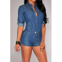 Handsome Shirt Collar Pure Color 3/4 Sleeve Lace-Up Jeans Romper For Women blue