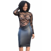 High Neck Lace Cut out Leatherette Splice Dress