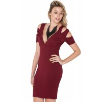 Knockout Cut-out Bare Shoulder Bodycon Dress