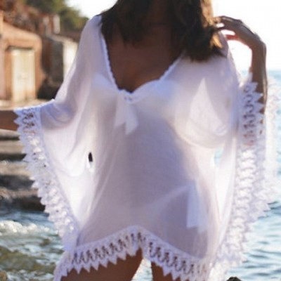 Lace Splicing Stylish V-Neck 3/4 Sleeve Cover-Up For Women white