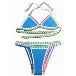 Light Blue Handmade Crotchet Neoprene Latex Bathing Suit