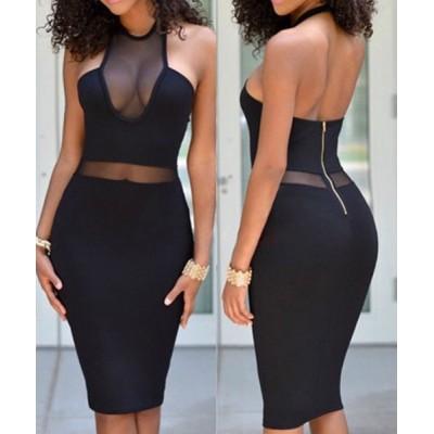 Mesh Splicing Backless Sexy Halter Bodycon Dress For Women black
