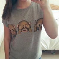 Monkey Emoji Pattern Casual Scoop Neck Short Sleeve T-Shirt For Women gray