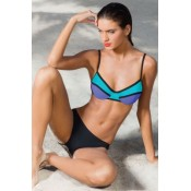 Neon Color Block Two Piece Swimsuit