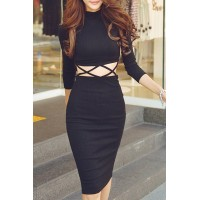 Novelty Long Sleeve Stand-Up Collar Hollow Out Criss-Cross Sheathy Dress For Women