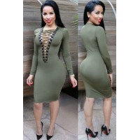Olive Lace-up V Neck Long Sleeve Bodycon Dress