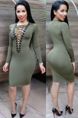 Olive Lace-up V Neck Long Sleeve Bodycon Dress