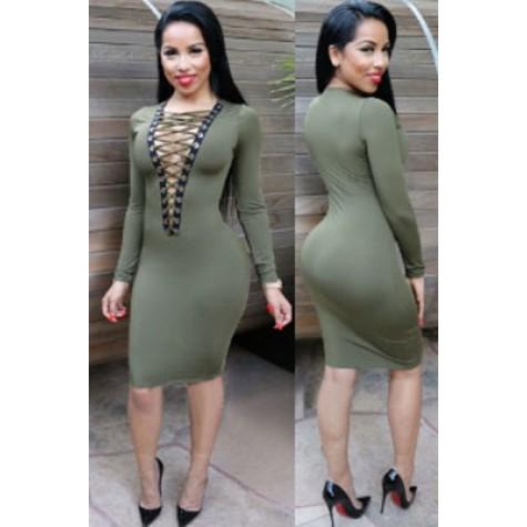 65a63dd176c3 Olive Lace-up V Neck Long Sleeve Bodycon Dress (Olive Lace-up V Neck ...