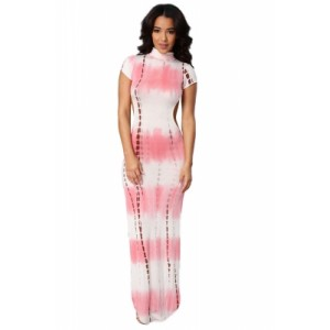 Open Back Pink Tie Dye Print Cheongsam Maxi Dress
