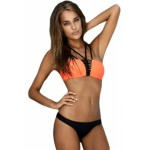 Orange 2pcs Strappy Bandeau Bikini Swimsuit