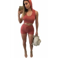 Orange Hooded Crop Top and Shorts Two Piece Set