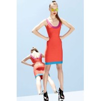 Orange U Neck Bandage Dress