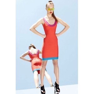 Orange U Neck Bandage Dress