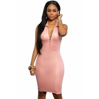 Pink Faux Leather Zip Front Bodycon Dress
