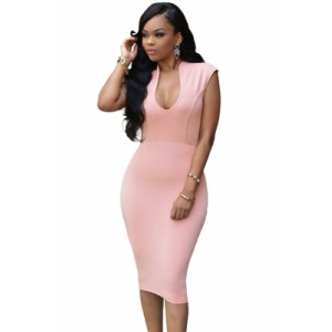 Pink Low V Neck Knee Dress