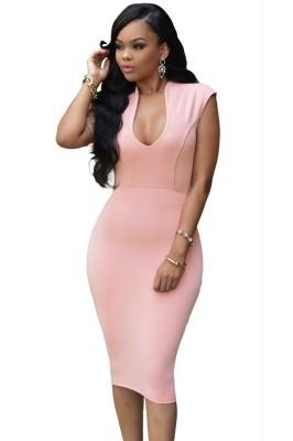 Pink Low V Neck Knee Dress