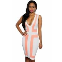 Pink White Color-block V Neck Sleeveless Dress