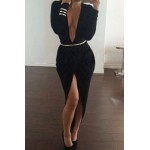 Plunging Neck Long Sleeve High-Furcal With Belt Dress For Women