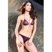Purple Pink Studded Bikini Swimsuit
