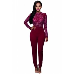 Red Long Sleeves Rhinestone Mesh Bodice Formfitting Jumpsuit