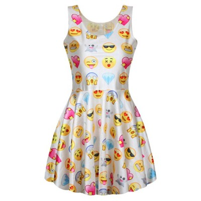 Refreshing Style Scoop Neck Sleeveless Printed Emoji Dress For Women white