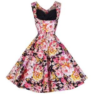Retro Women's Sweetheart Neck Flower Print Sleeveless Midi Dress