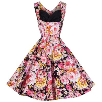Retro Women's Sweetheart Neck Flower Print Sleeveless Midi Dress