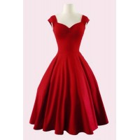 Retro Women's Sweetheart Neck Solid Color Sleeveless Dress black red