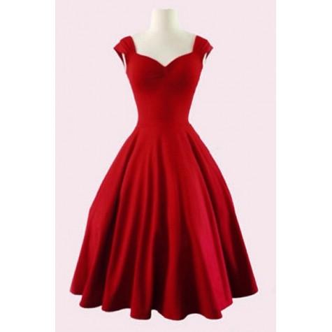 b8cacabd736e Retro Women s Sweetheart Neck Solid Color Sleeveless Dress black red ...