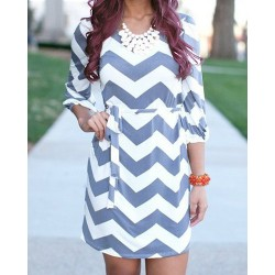 Ripple Print Lace-Up Stylish Scoop Neck 3/4 Sleeve Dress For Women blue white