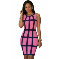 Rosy Black Trim Cage Design Dress