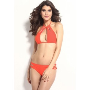 Rosy Sexy Cool Cut outs Halter Bikini Set with Strings