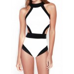 Round Neck Color Splicing Backless Sexy One-Piece Swimsuit For Women white Black