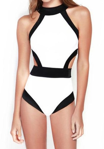 0ba3c3e341 Round Neck Color Splicing Backless Sexy One-Piece Swimsuit For Women ...