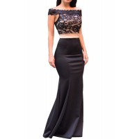 Scalloped Lace Off Shoulder Mermaid Evening Dress