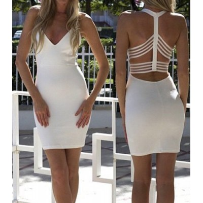 Sexy Backless Plunging Neckline Bodycon Dress For Women white