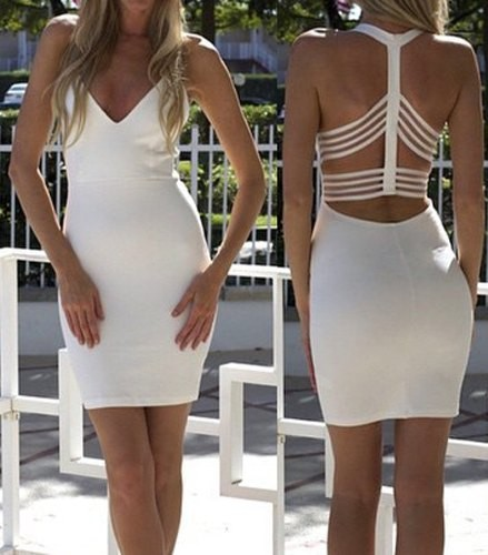 a8a0354c30 Sexy Backless Plunging Neckline Bodycon Dress For Women white (Sexy ...