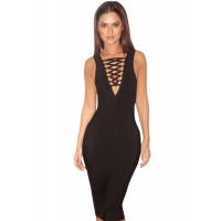 Sexy Deep V Neck Lace up Bust Bandage Dress