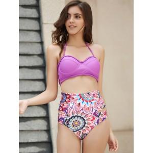 Sexy Halter High Waist Floral Print Bikini Set For Women purple