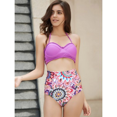 Sexy Halter High Waist Floral Print Bikini Set For Women purple