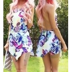Sexy Halter Sleeveless Backless Floral Print Asymmetrical Romper For Women blue red white