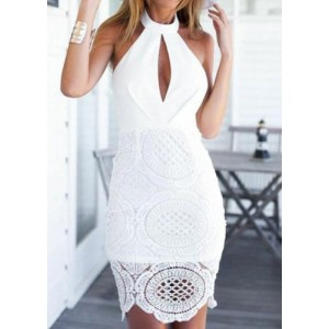 Sexy Halter Sleeveless Hollow Out Solid Color Dress For Women white
