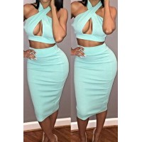 Sexy Hollow Out Solid Color High-Waisted Suit For Women blue