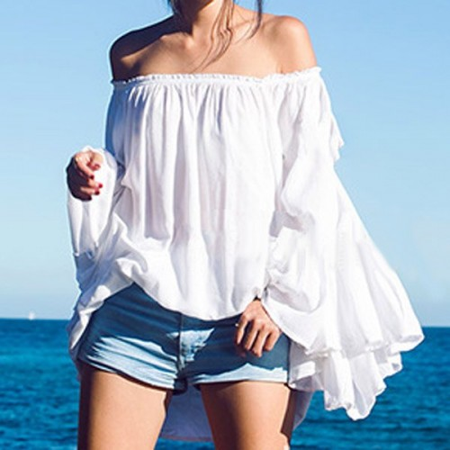Sexy long sleeve off the shoulder white blouse for women sexy long