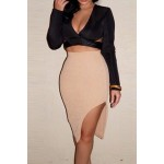 Sexy Long Sleeve Plunging Neckline Crop Top and Side Slit Skirt Suit For Women black