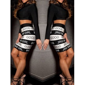 Sexy Long Sleeve Round Neck Crop Top and Printed Skirt Suit For Women black white