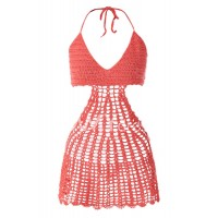 Sexy Openwork Crochet Halter Dress For Women orange red