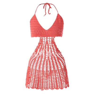 Sexy Openwork Crochet Halter Dress For Women orange red