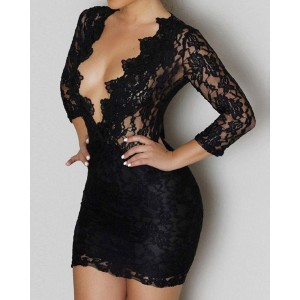 Sexy Plunging Neck 3/4 Sleeve See-Through Solid Color Lace Dress For Women black